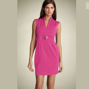 Trina Turk Astra Ponte Belted Sheath Dress Pink 12